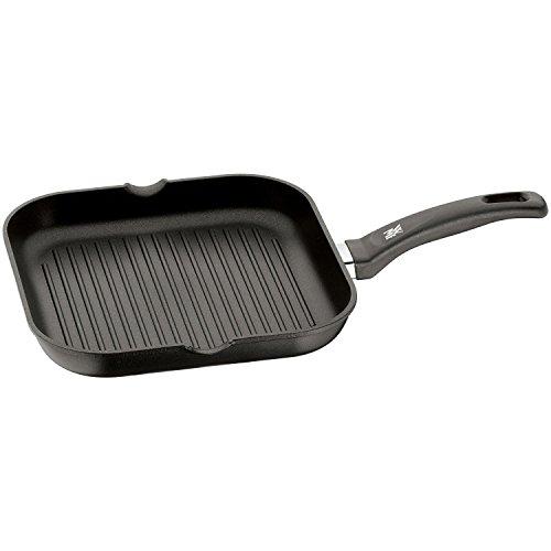 WMF Grillpfanne 27x27 cm mit Ausguss, Aluminium beschichtet, Steakpfanne ideal zum knusprigen Braten, eckige Pfanne, Kunststoffgriff